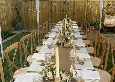 cross back chair hire sussex