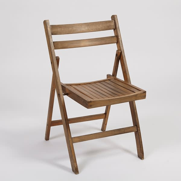 rustic wooden folding chair hire