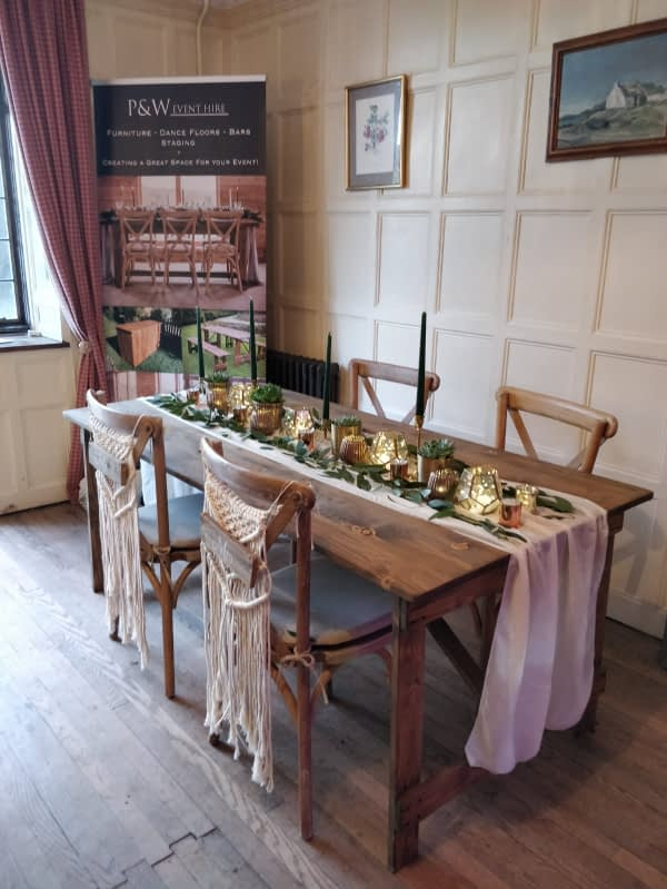 wood trestle table hire