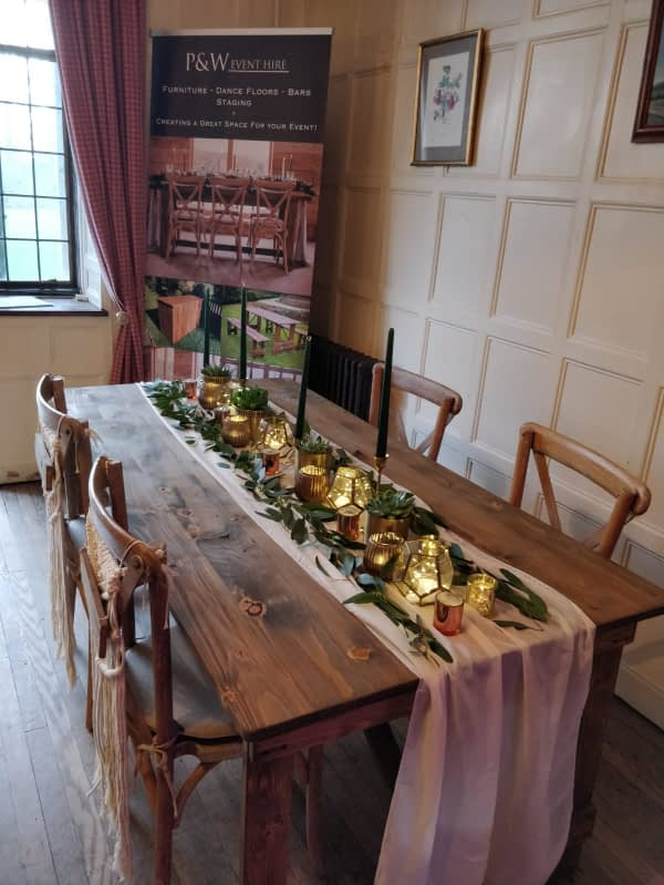 wooden table hire